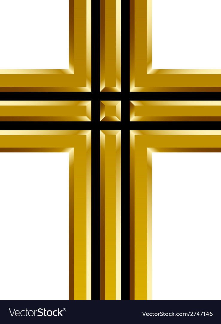 Golden christian cross vector | Price: 1 Credit (USD $1)