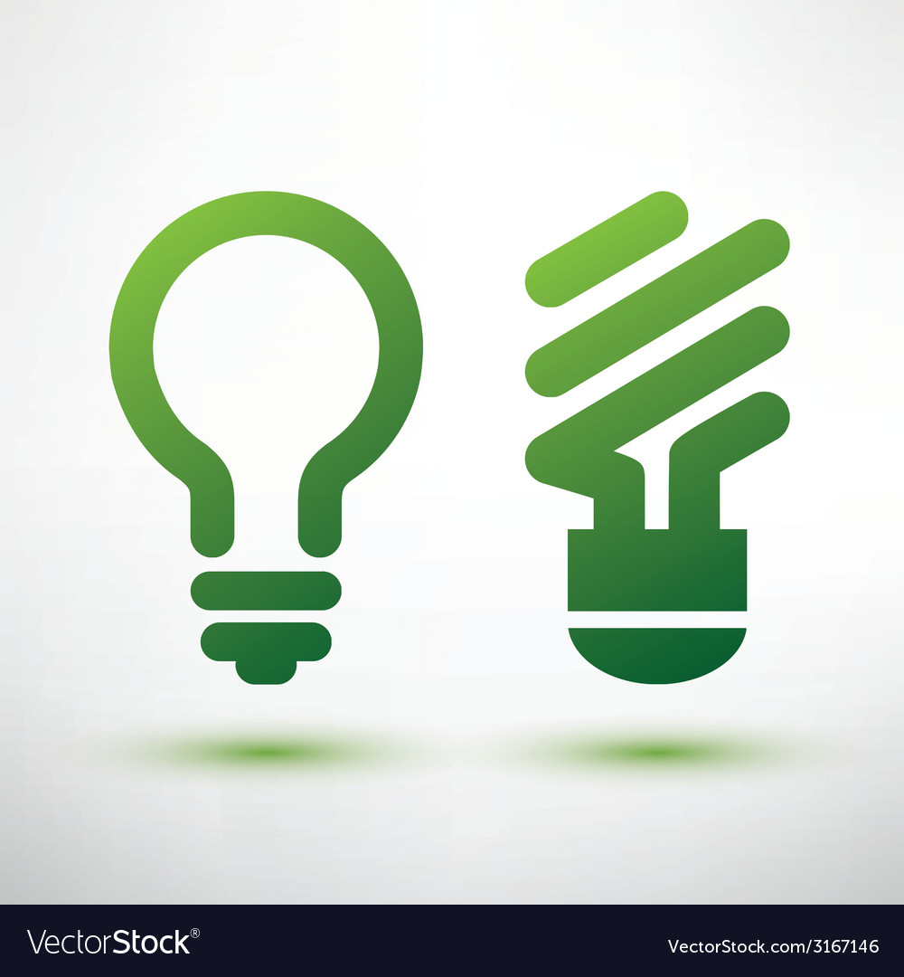 Green eco light bulb icons set low energy concept vector | Price: 1 Credit (USD $1)