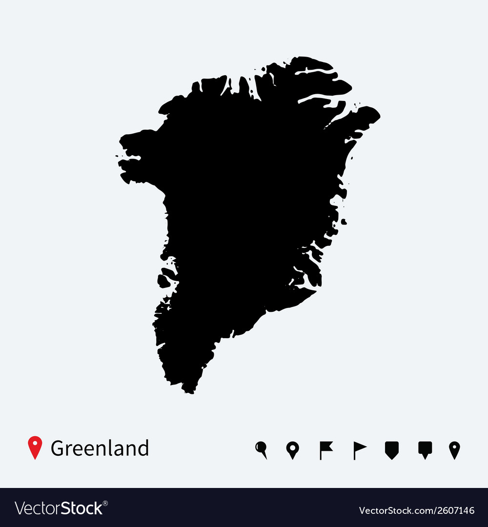 High detailed map of greenland with navigation vector | Price: 1 Credit (USD $1)