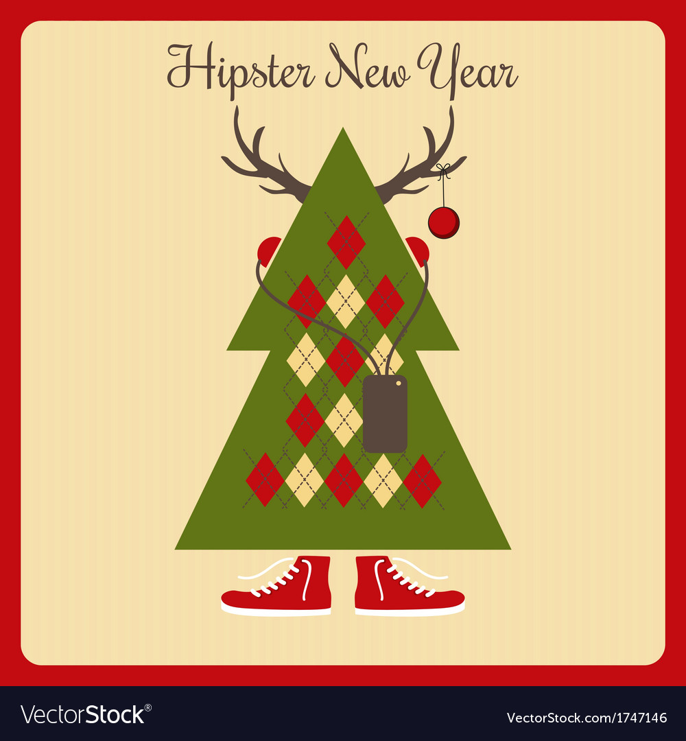 Hipster a christmas tree with accessories vector | Price: 1 Credit (USD $1)
