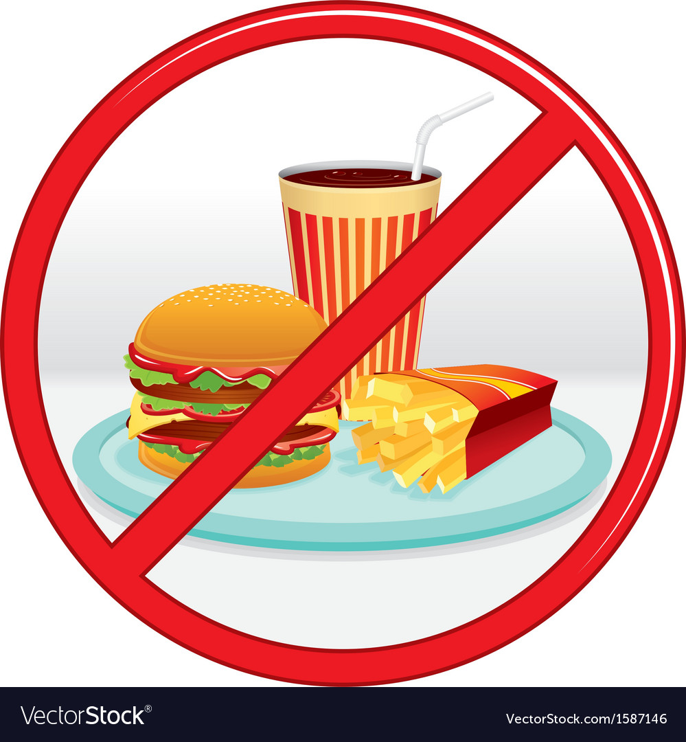 No fast food prohibition sign label vector | Price: 3 Credit (USD $3)