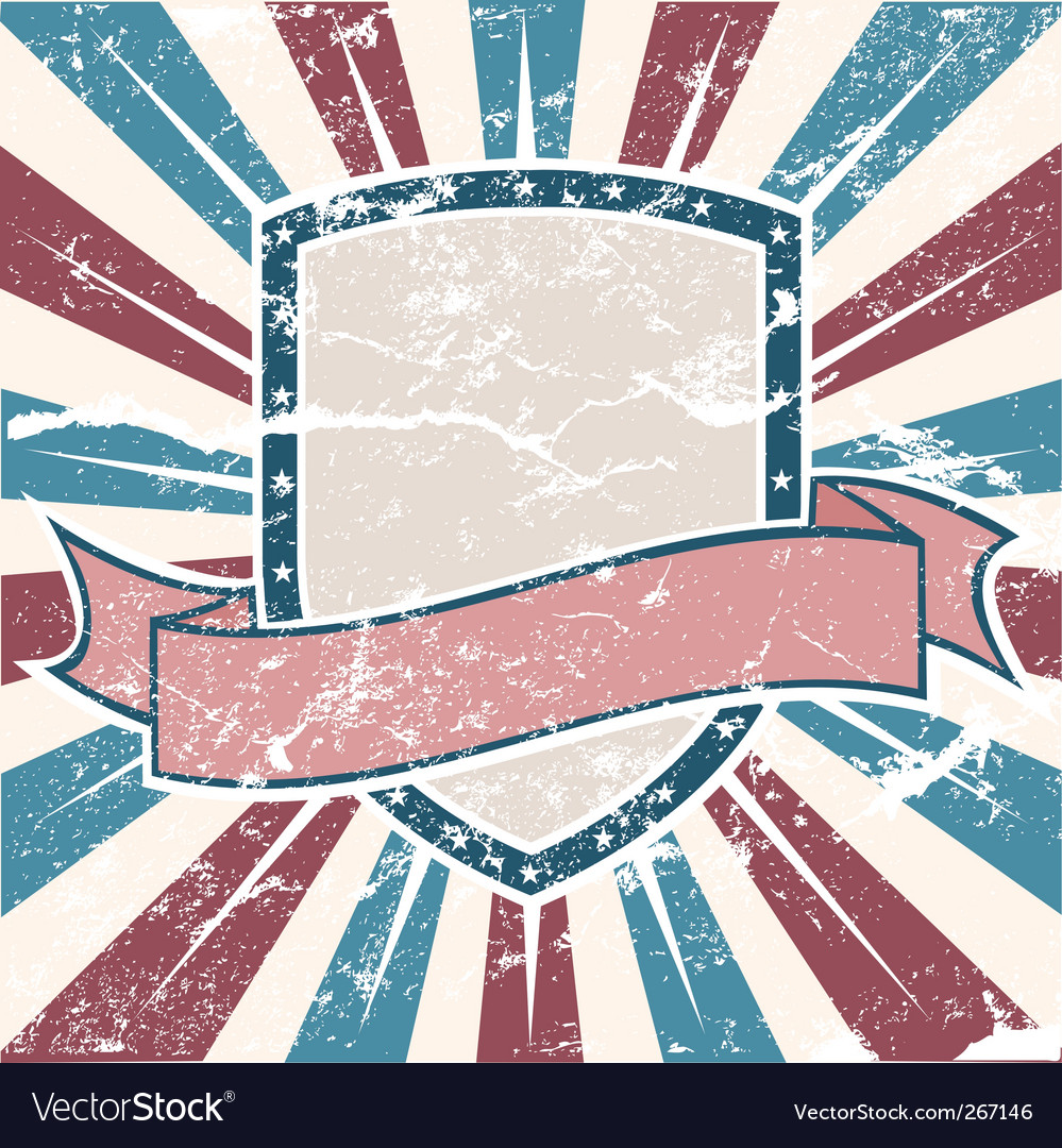 Old usa colors shield grunge vector | Price: 1 Credit (USD $1)