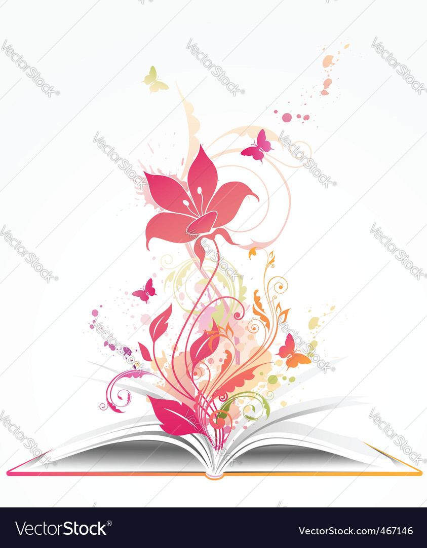 Open book and pink flower vector | Price: 1 Credit (USD $1)