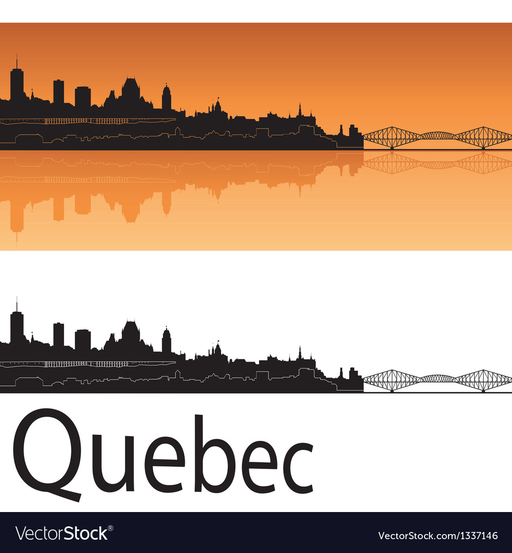 Quebec skyline in orange background vector | Price: 1 Credit (USD $1)