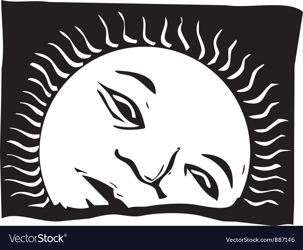 Rising sun face vector | Price: 1 Credit (USD $1)