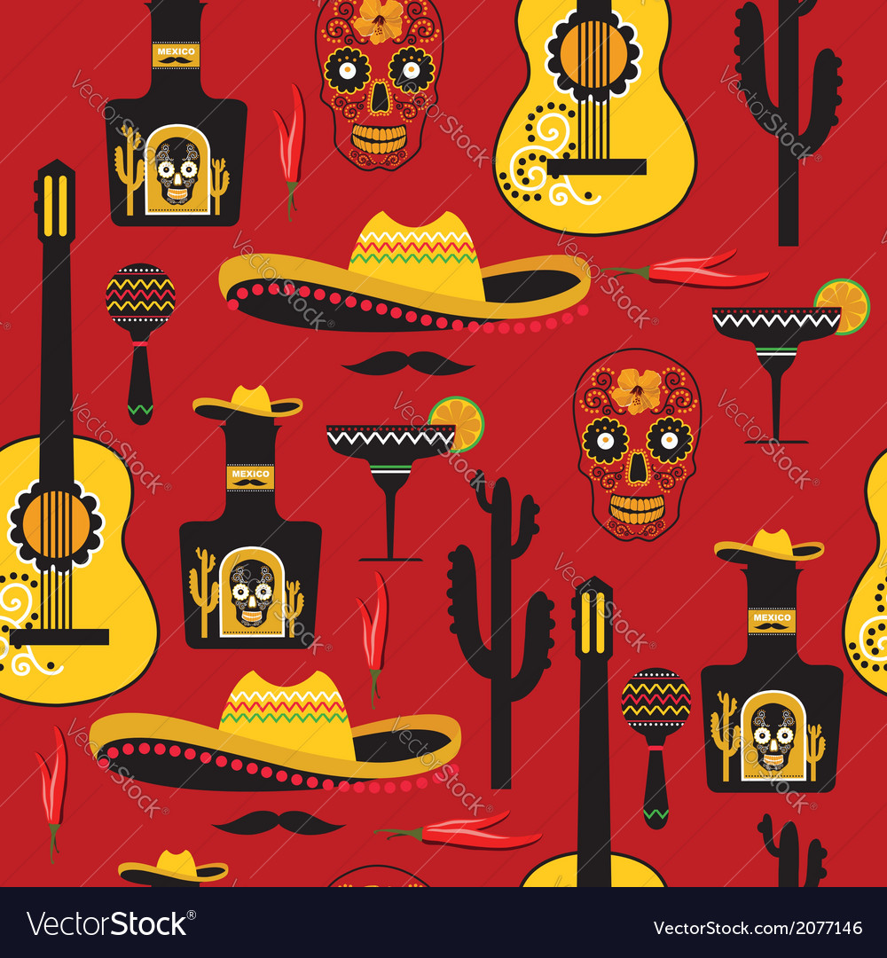 Seamless mexican pattern vector | Price: 1 Credit (USD $1)