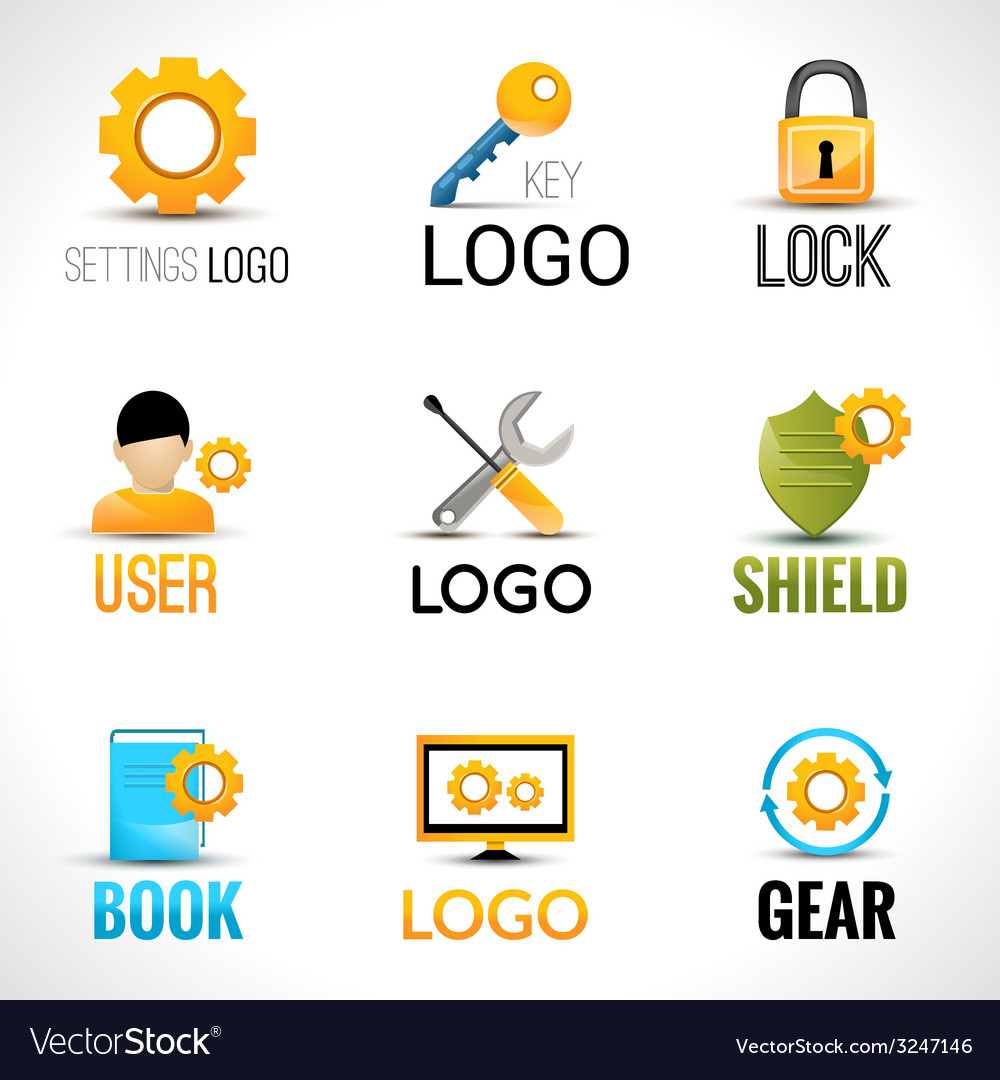 Settings logo set vector | Price: 1 Credit (USD $1)