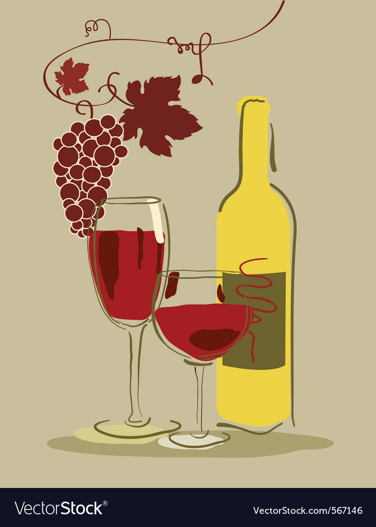 Wine and grapes vector | Price: 1 Credit (USD $1)