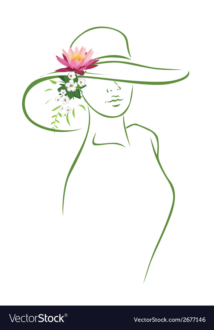Woman with hat vector | Price: 1 Credit (USD $1)