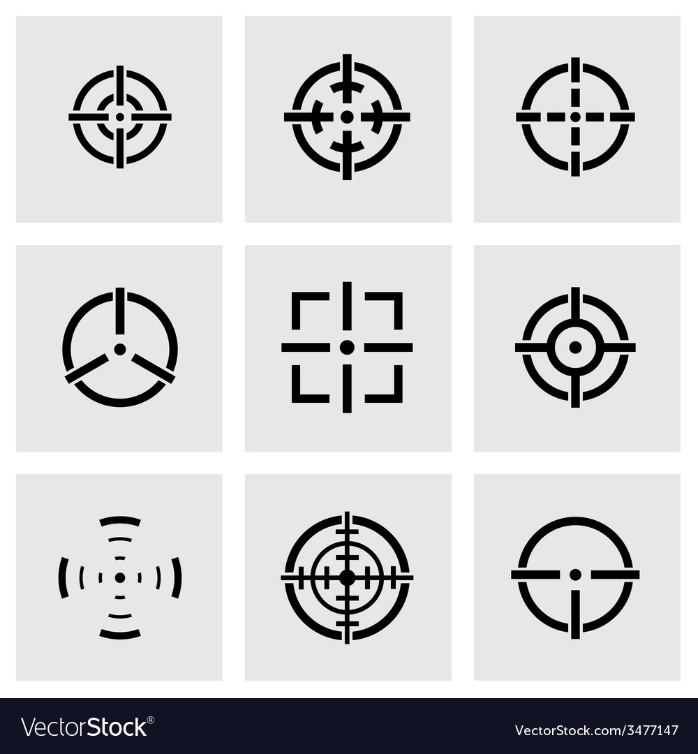 Black crosshair icon set vector | Price: 1 Credit (USD $1)