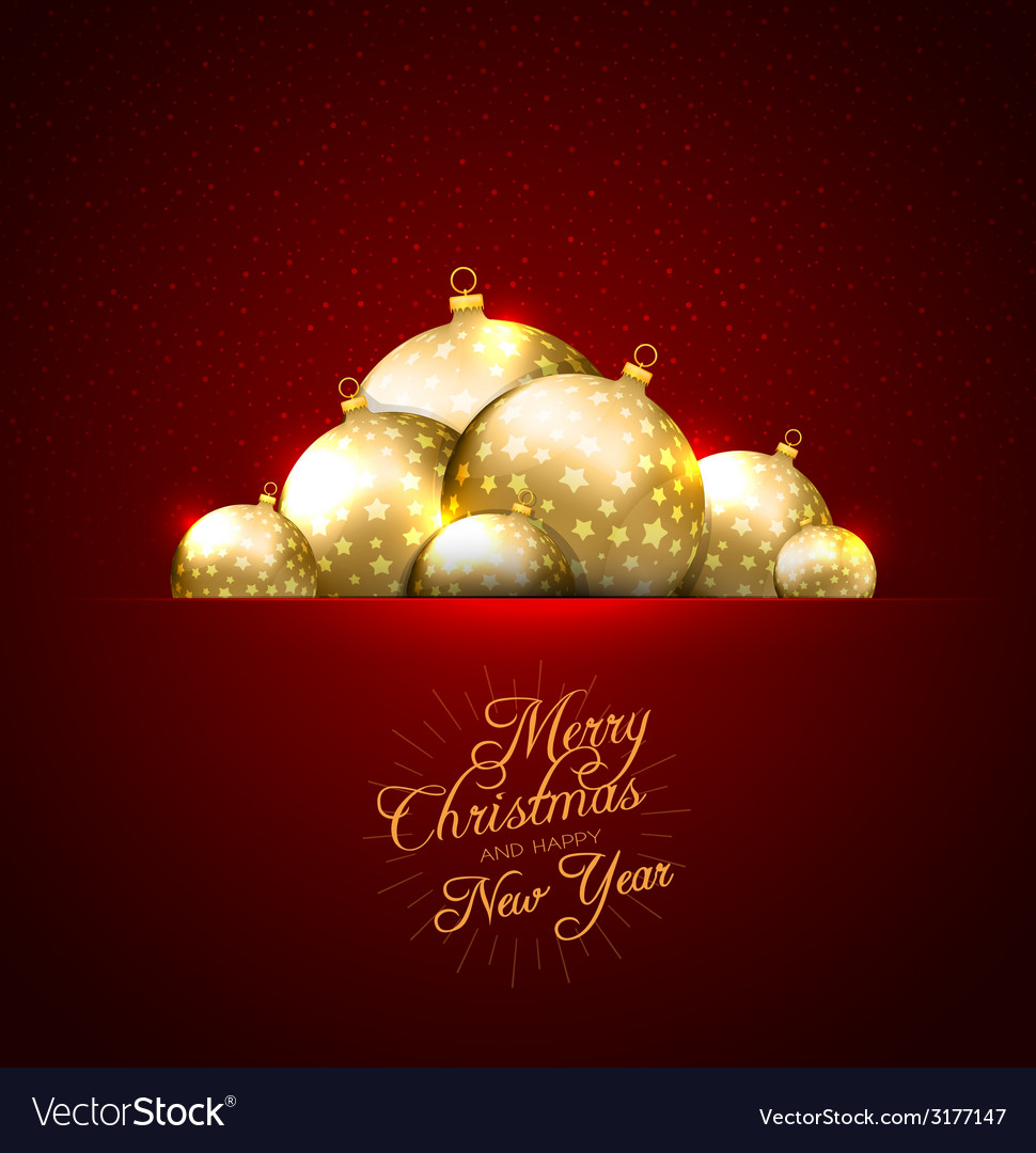 Christmas card with balls background vector | Price: 1 Credit (USD $1)