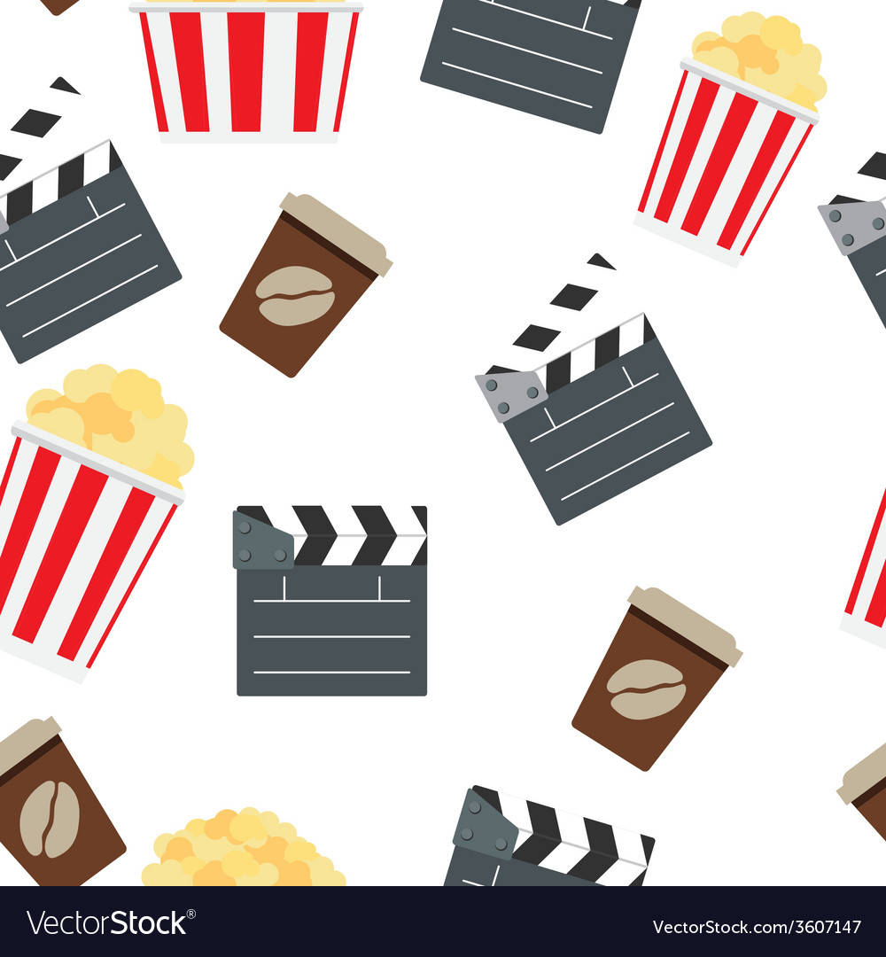 Cinema seamless pattern background vector | Price: 1 Credit (USD $1)