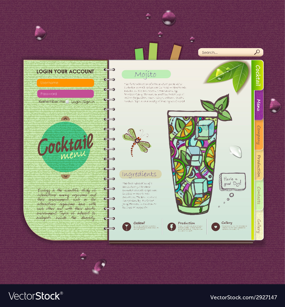 Decorative cocktail menu vector | Price: 1 Credit (USD $1)