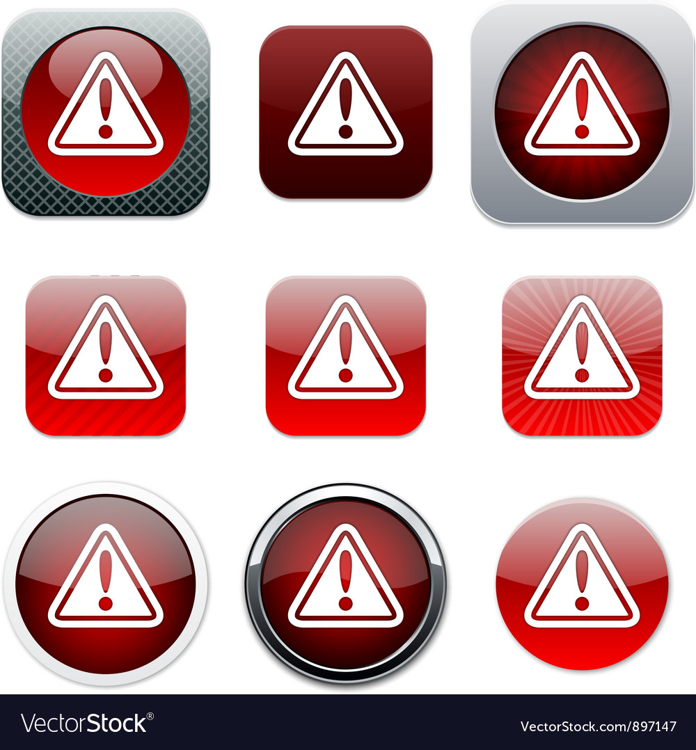 Exclamation sign red app icons vector | Price: 1 Credit (USD $1)