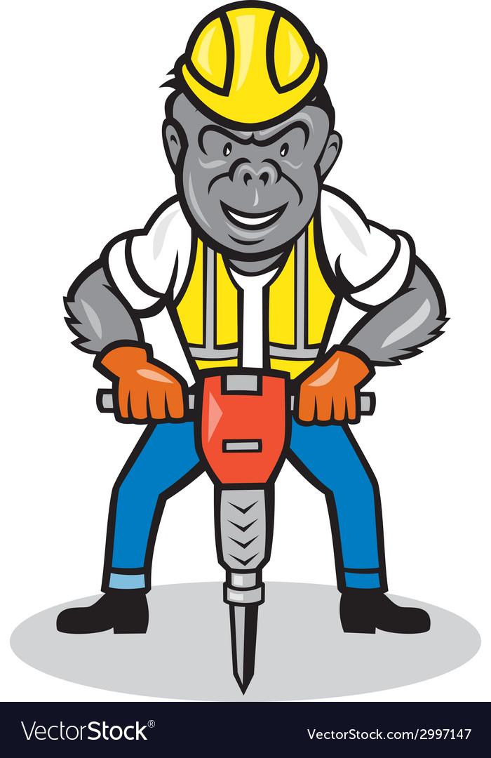 Gorilla construction jackhammer cartoon vector | Price: 1 Credit (USD $1)