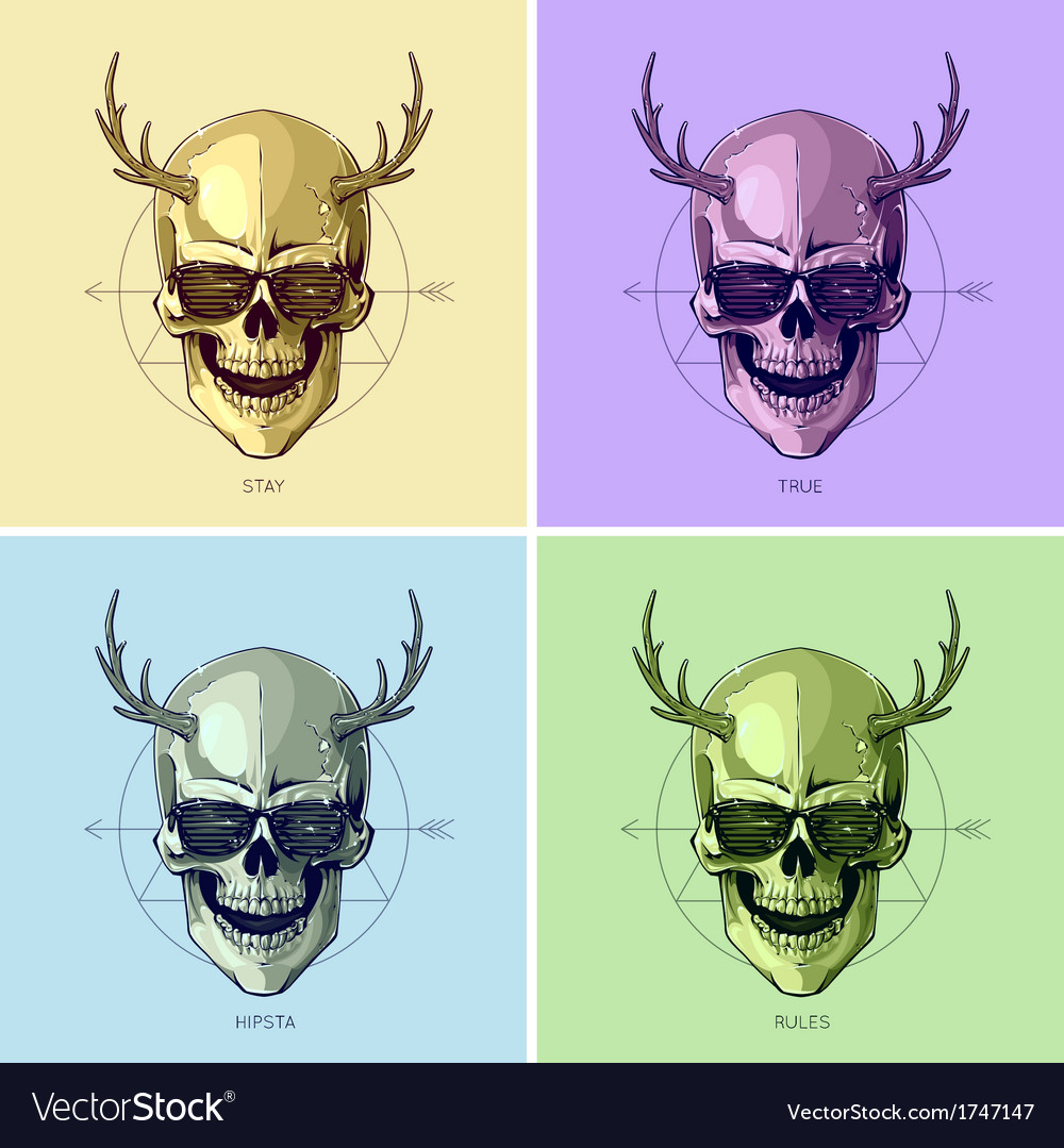 Hipster skulls pop art vector | Price: 1 Credit (USD $1)