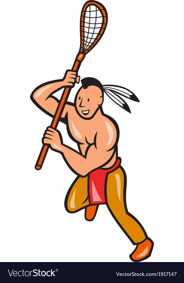 Native american lacrosse player crosse stick vector | Price: 1 Credit (USD $1)