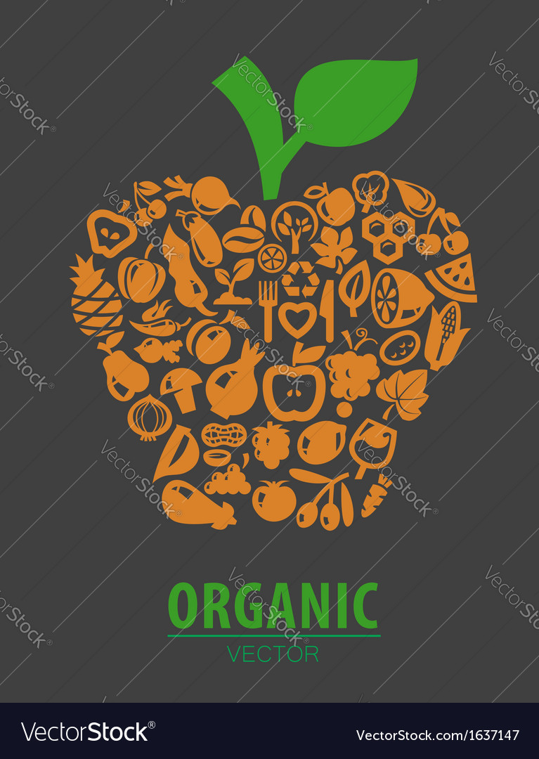 Organic vegetables and fruits vector | Price: 1 Credit (USD $1)