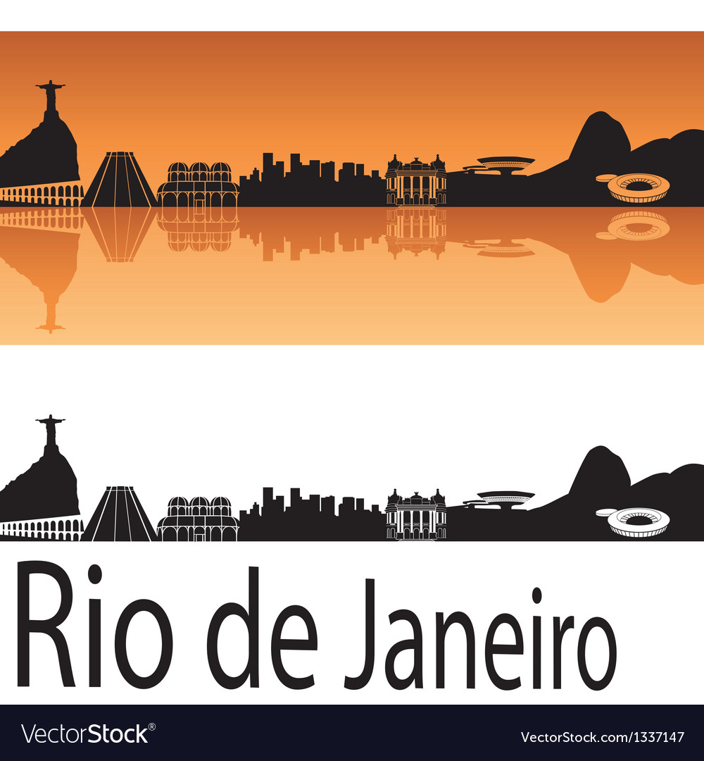 Rio de janeiro skyline in orange background vector | Price: 1 Credit (USD $1)