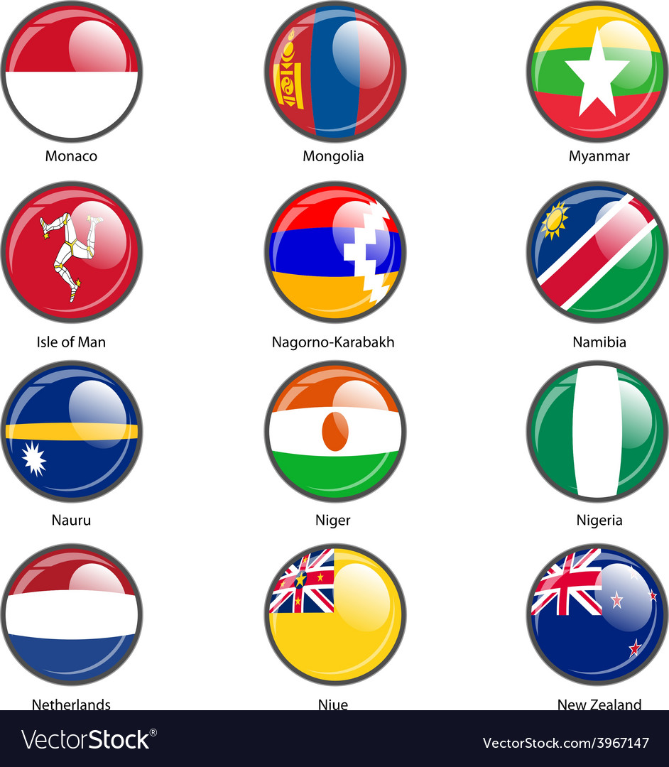 Set circle icon flags of world sovereign states vector | Price: 1 Credit (USD $1)