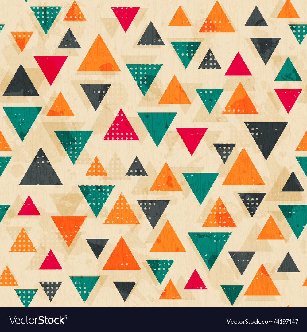 Vintage colored triangle pattern with grunge vector | Price: 1 Credit (USD $1)