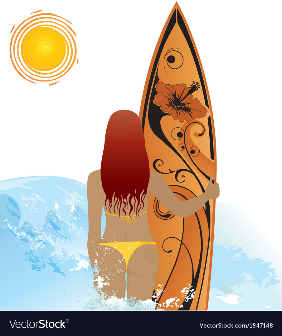 Beach woman with surf vector | Price: 1 Credit (USD $1)