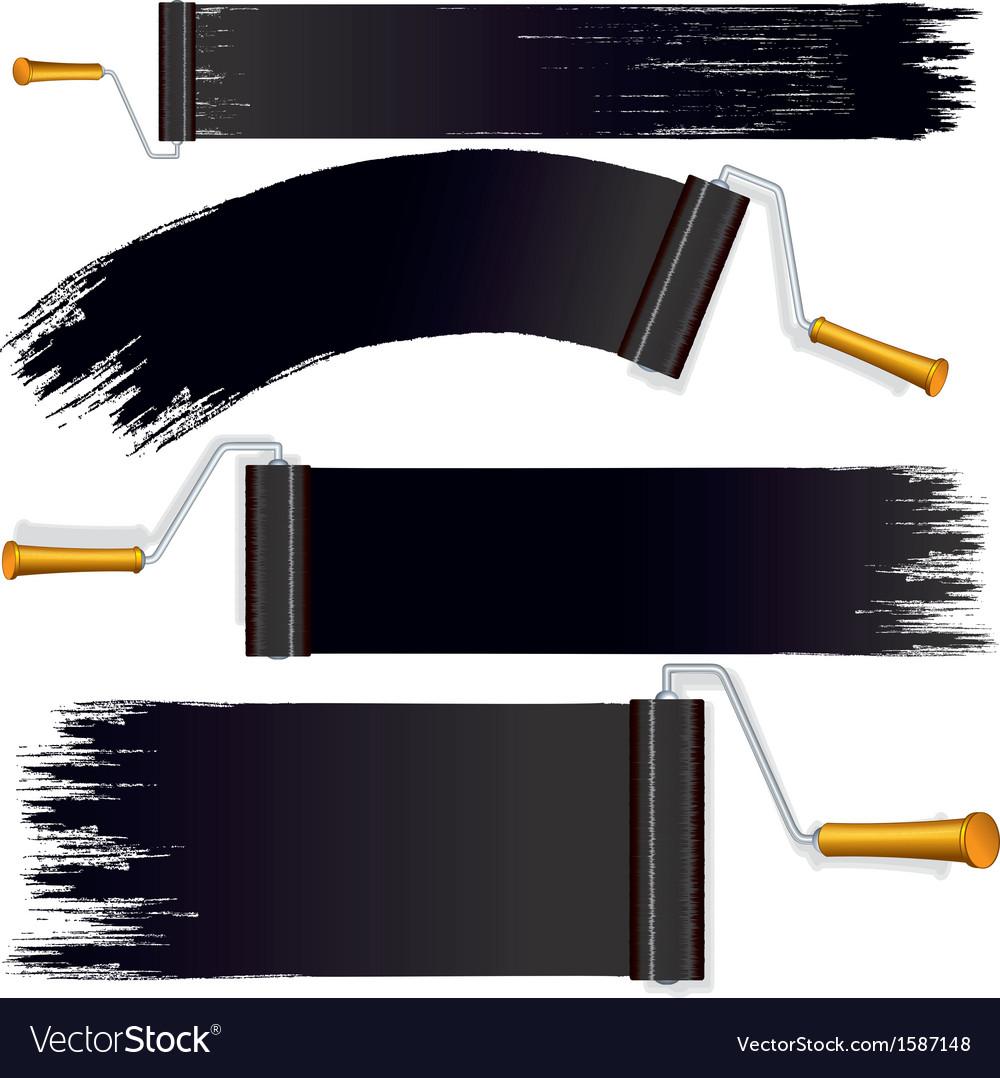 Black roller brush on white background vector | Price: 1 Credit (USD $1)