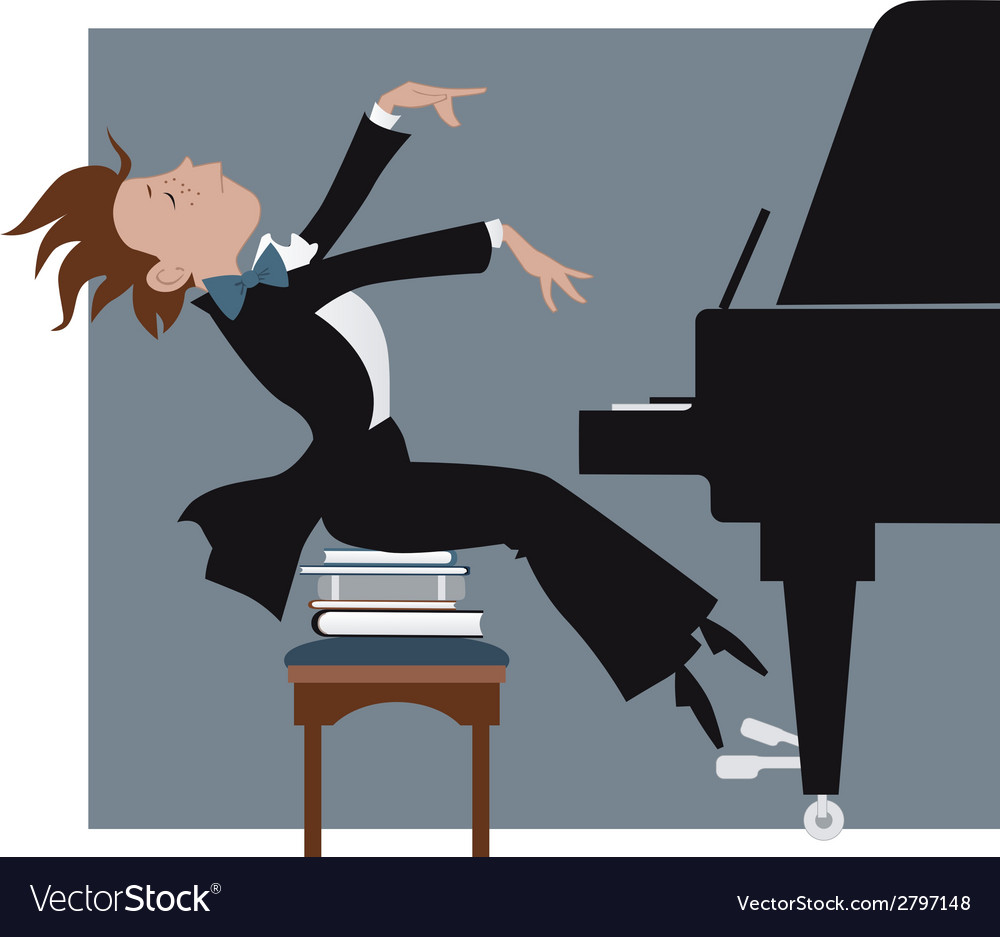 Boy playing a piano vector | Price: 1 Credit (USD $1)