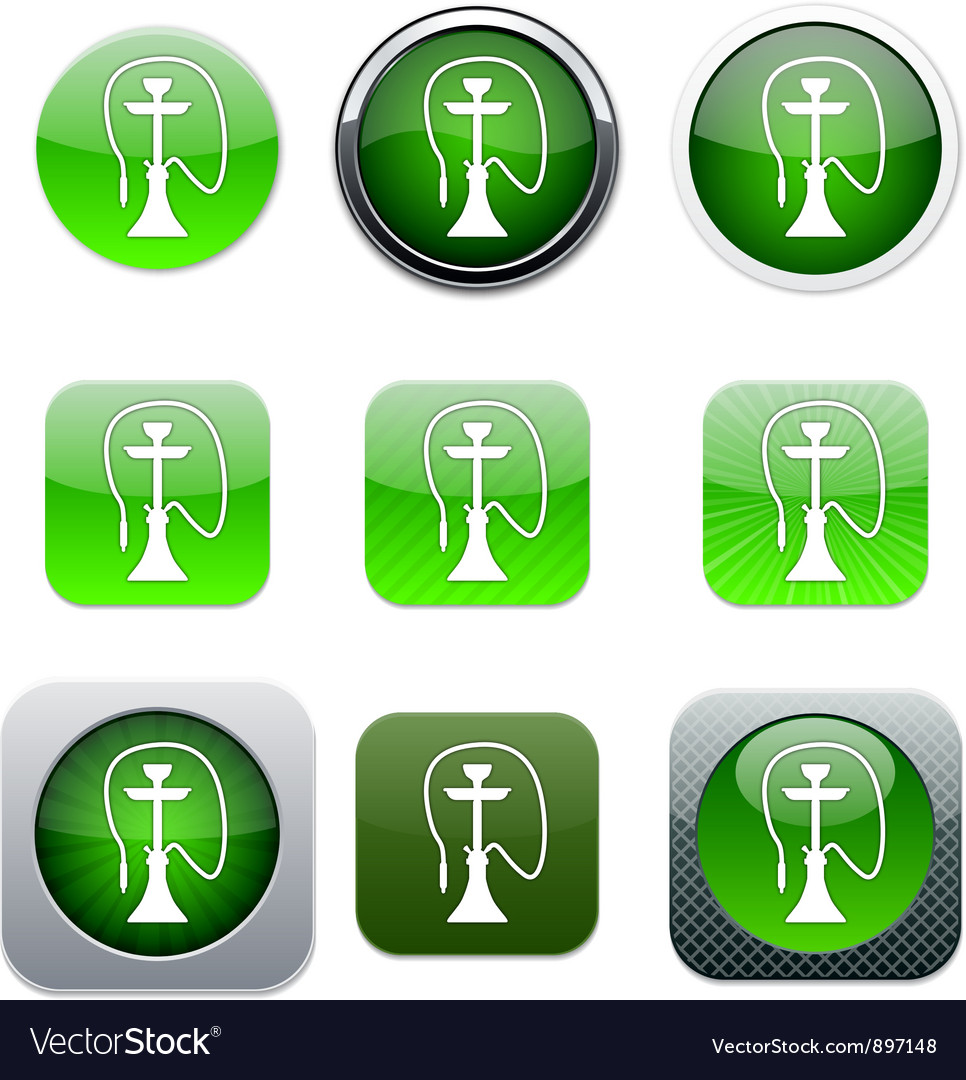 Hookah green app icons vector | Price: 1 Credit (USD $1)