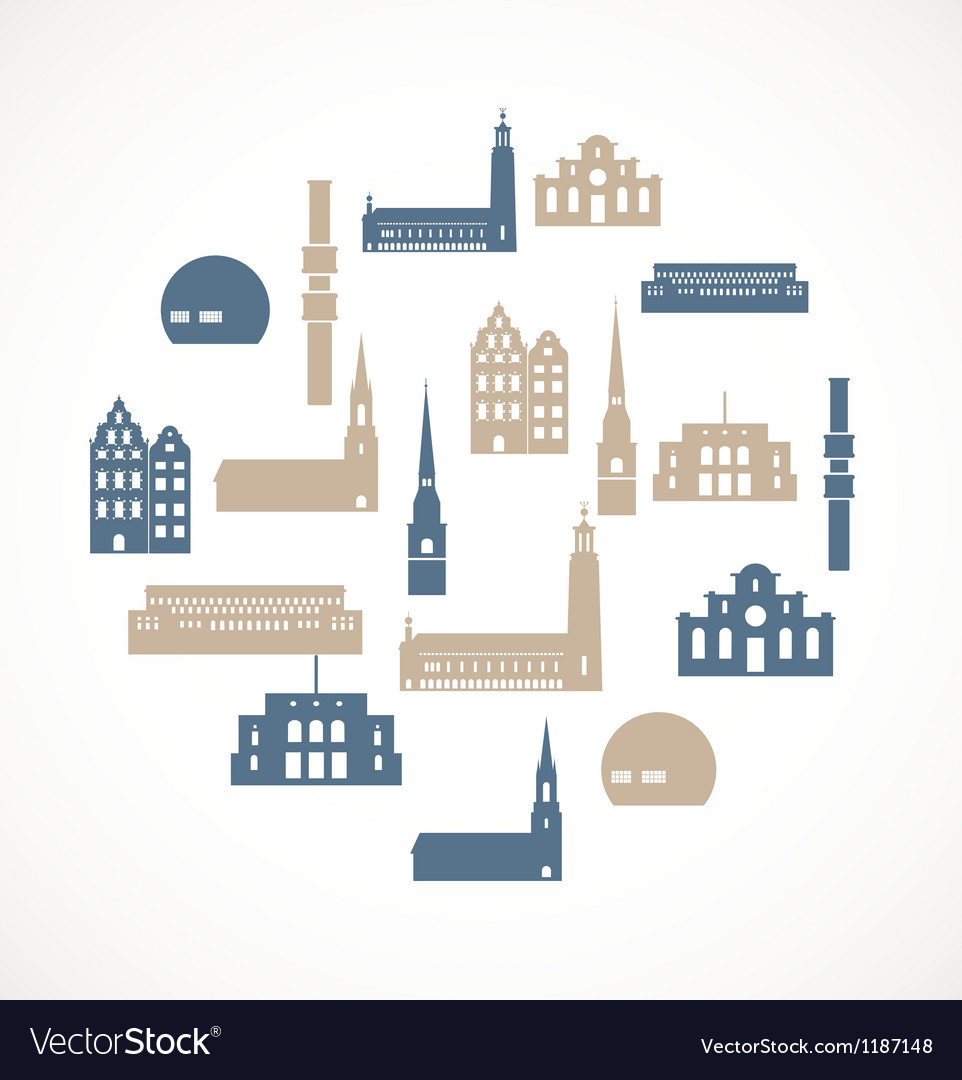 Landmark icons - stockholm vector | Price: 1 Credit (USD $1)