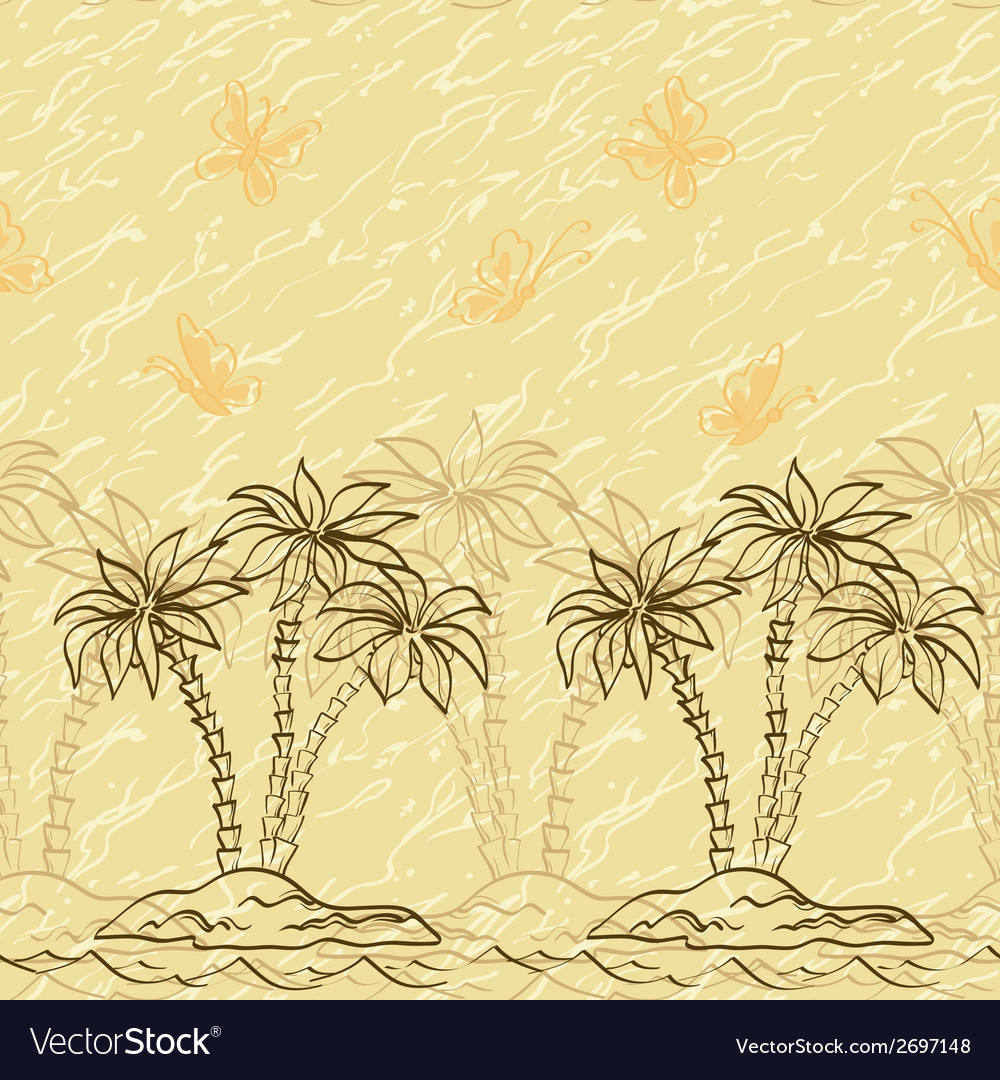 Seamless pattern palm trees and butterflies vector | Price: 1 Credit (USD $1)