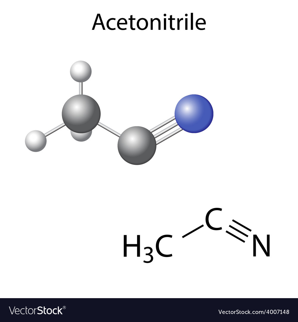 Structural chemical model of acetonitrile vector | Price: 1 Credit (USD $1)