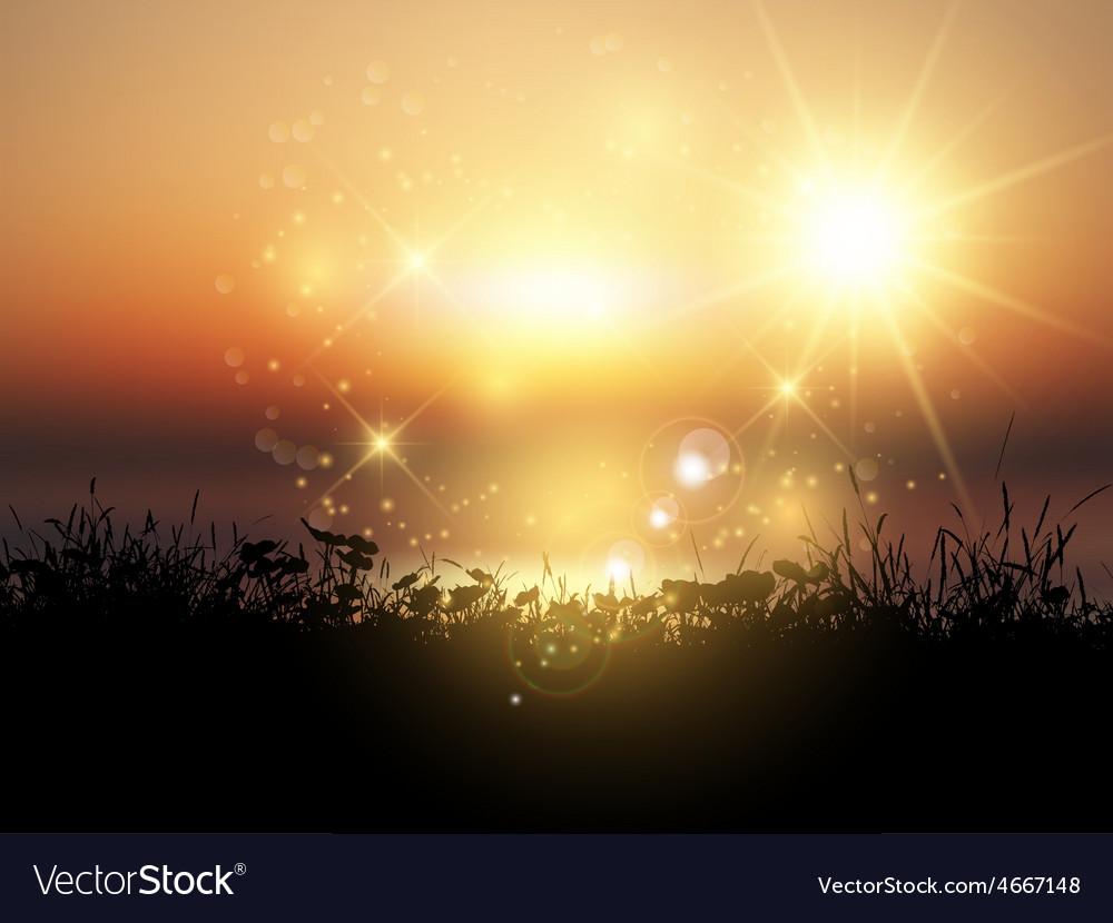 Sunset grassy landscape 2003 vector | Price: 3 Credit (USD $3)