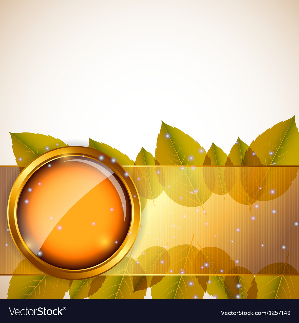 Abstract background with autumn leaves and glass vector | Price: 3 Credit (USD $3)