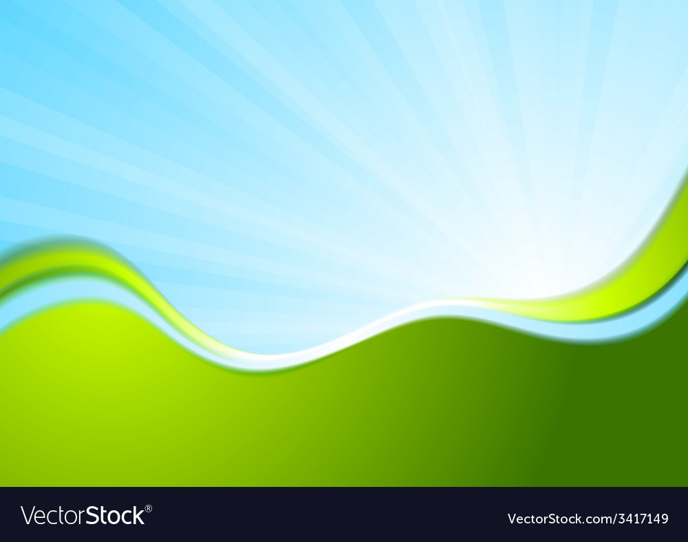 Blue and green wavy abstract background vector | Price: 1 Credit (USD $1)