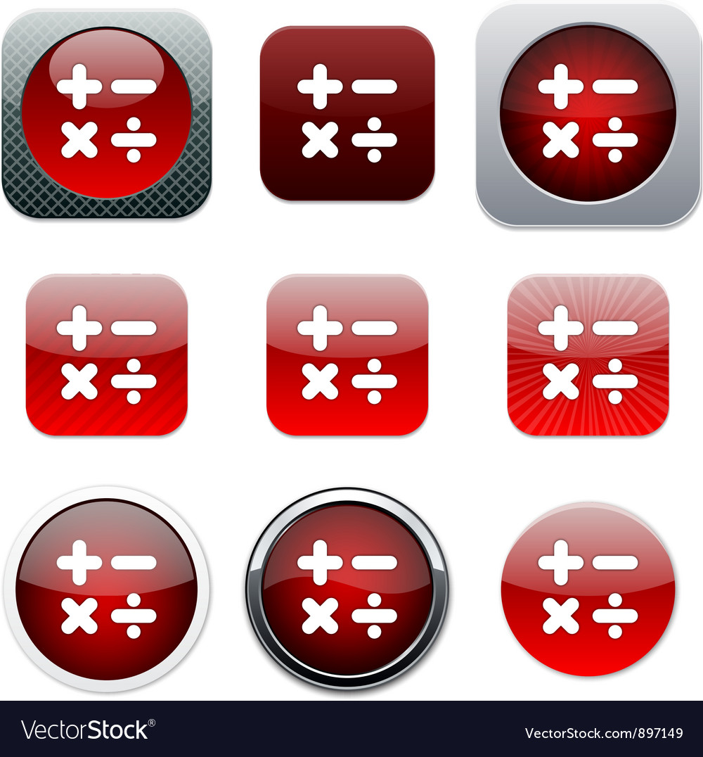 Calculate red app icons vector | Price: 1 Credit (USD $1)