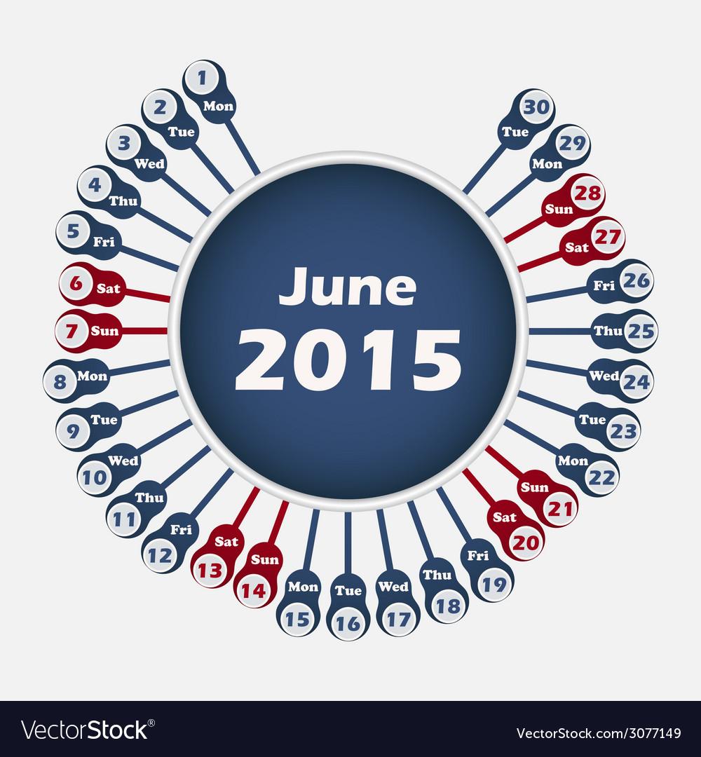 Calendar 2015 june template vector | Price: 1 Credit (USD $1)
