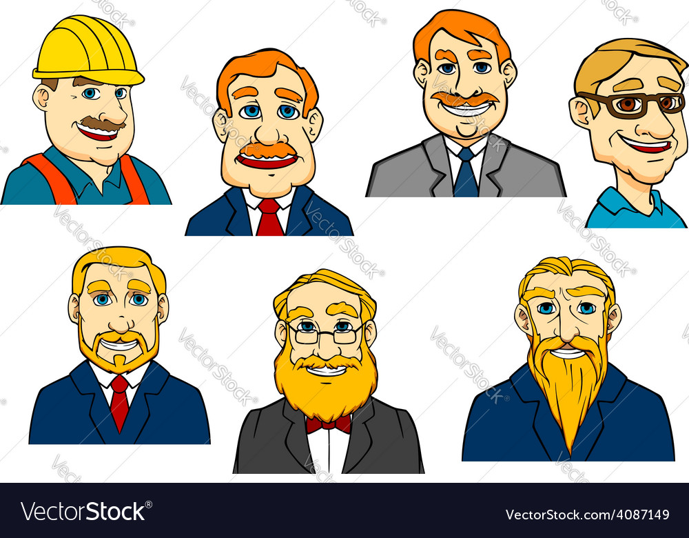 Different cartoon men vector | Price: 1 Credit (USD $1)