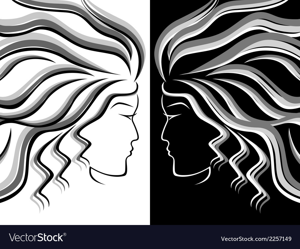 Female head silhouettes vector | Price: 1 Credit (USD $1)