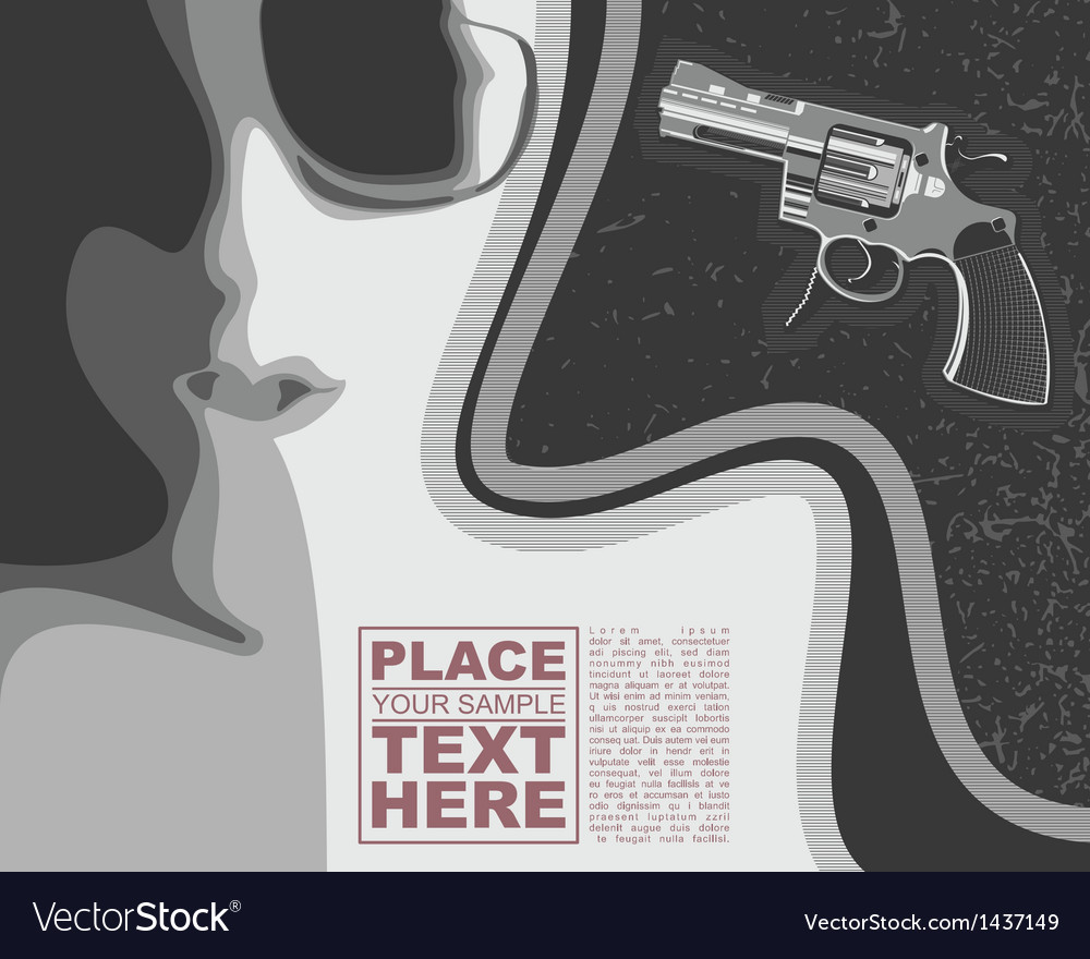 Girl and revolver on grunge background vector | Price: 3 Credit (USD $3)