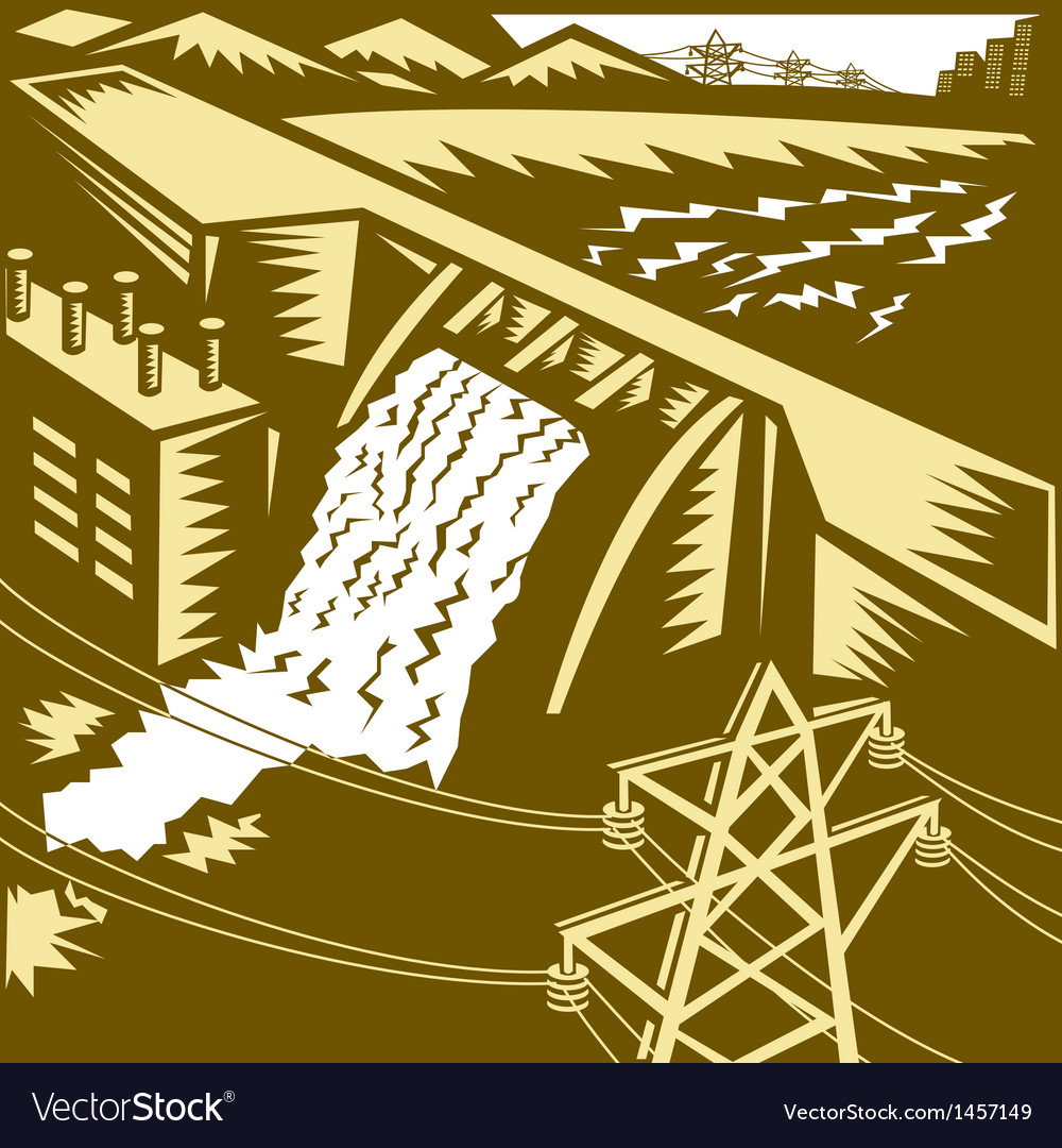 Hydroelectric hydro energy dam woodcut vector | Price: 1 Credit (USD $1)