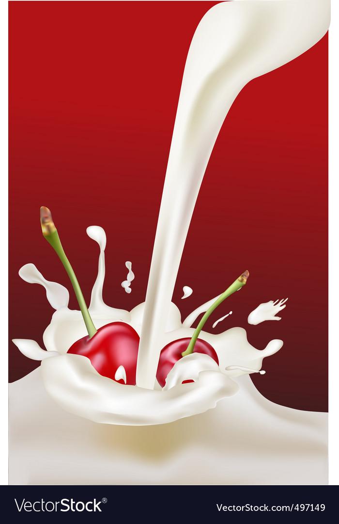 Milk and cherries vector | Price: 1 Credit (USD $1)