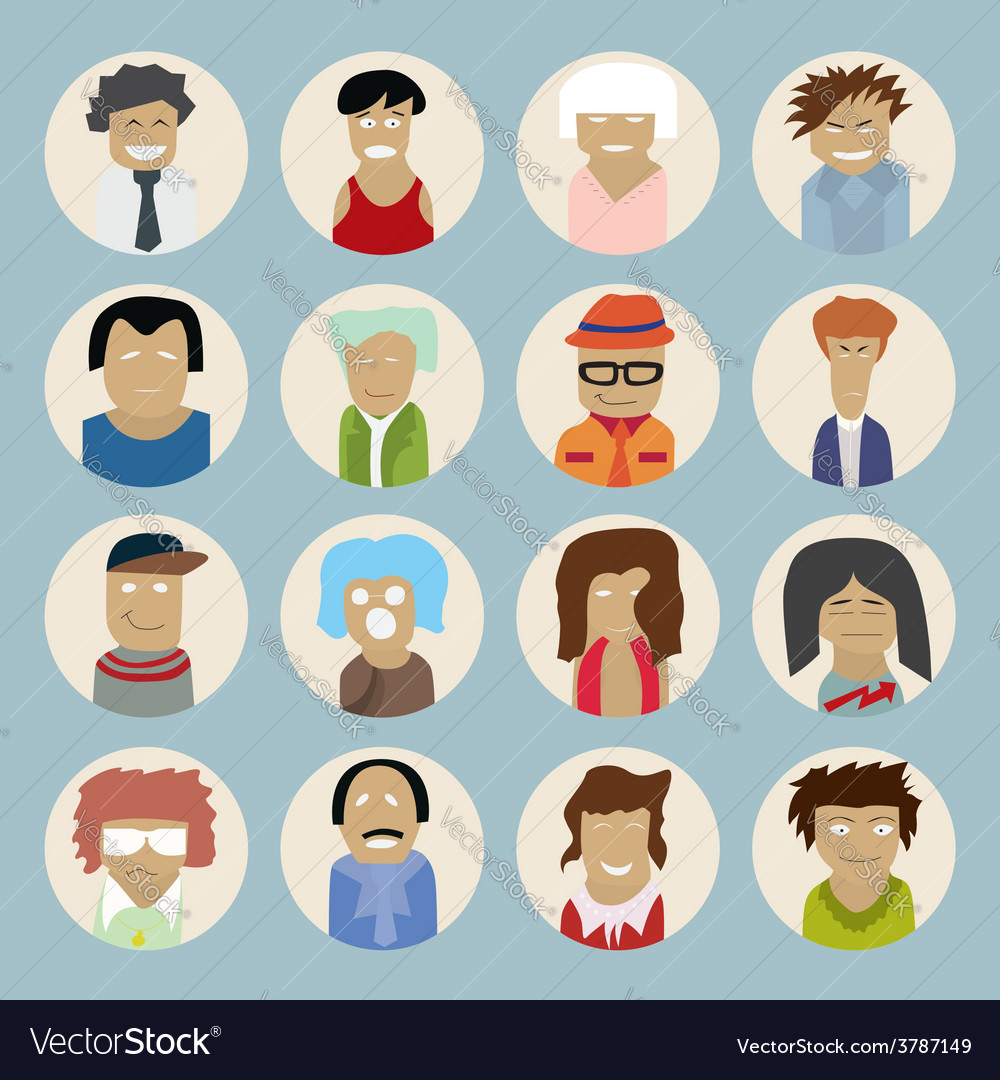 Set of people icons in flat style vector | Price: 1 Credit (USD $1)