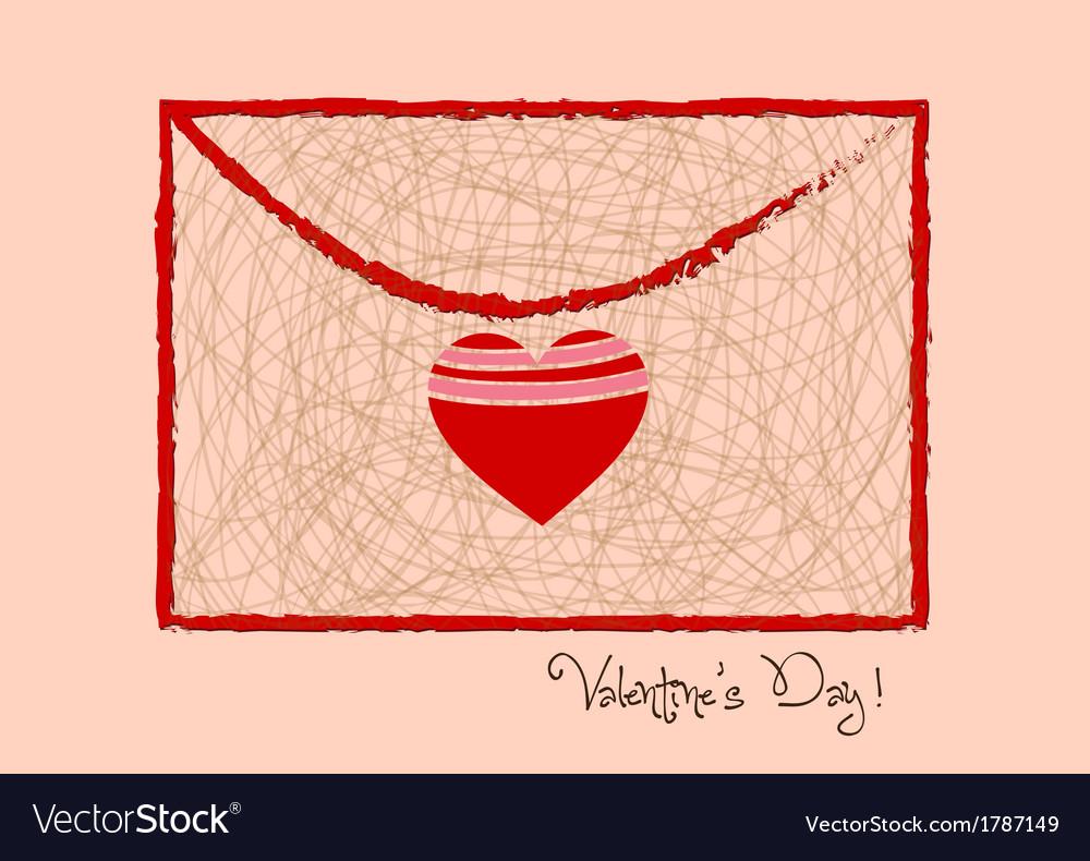 Valentine day letter hearts retro vector | Price: 1 Credit (USD $1)