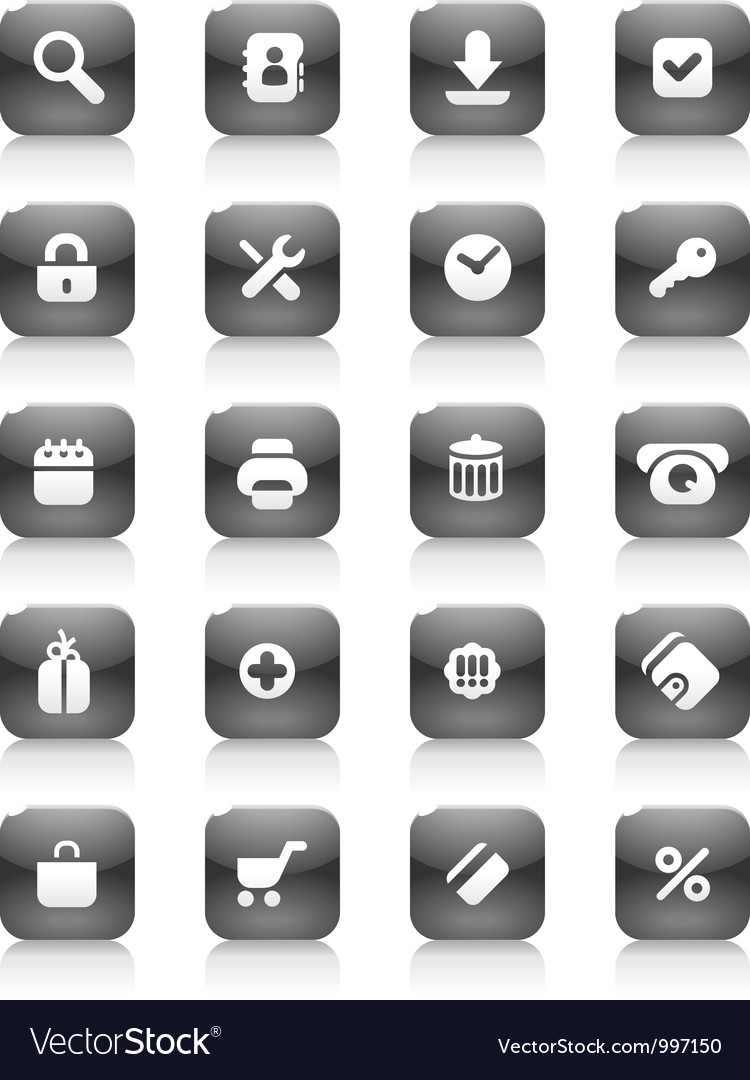 Black buttons for internet and shopping vector | Price: 1 Credit (USD $1)