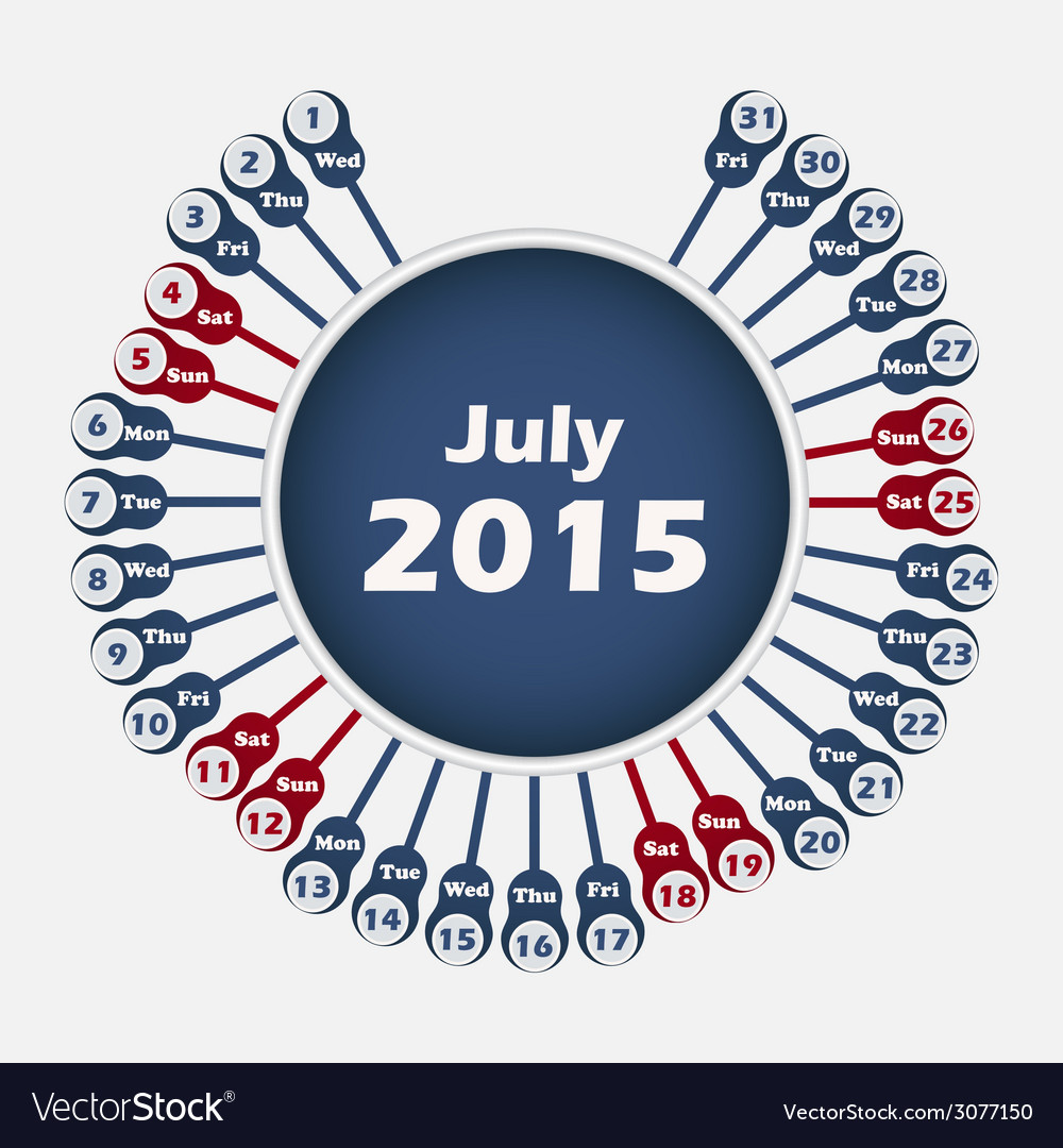 Calendar 2015 july template vector | Price: 1 Credit (USD $1)