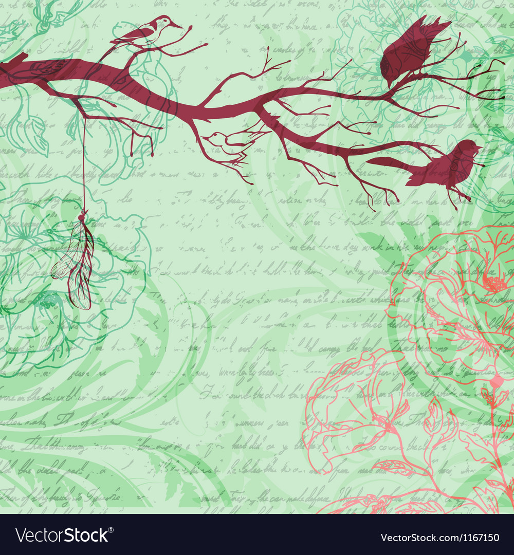 Grungy retro background with tree branch and birds vector | Price: 1 Credit (USD $1)
