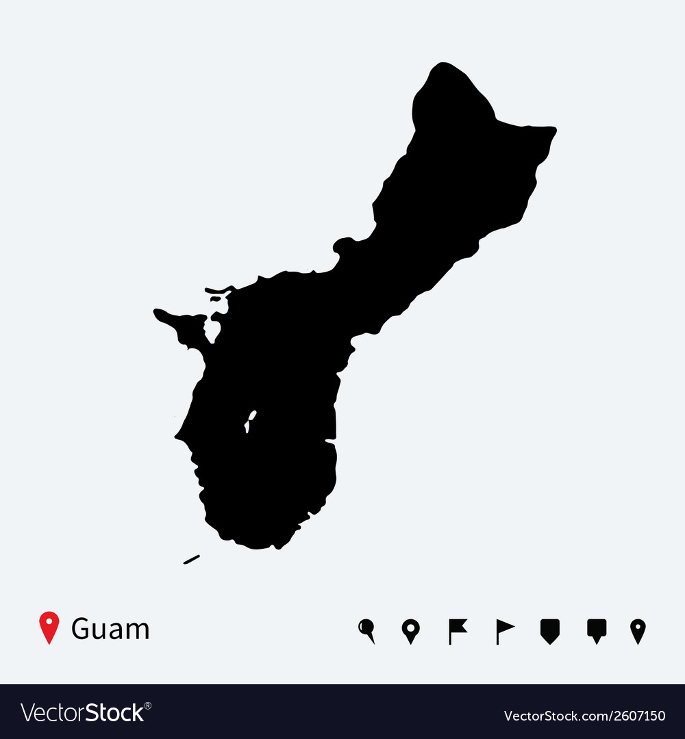 High detailed map of guam with navigation pins vector | Price: 1 Credit (USD $1)