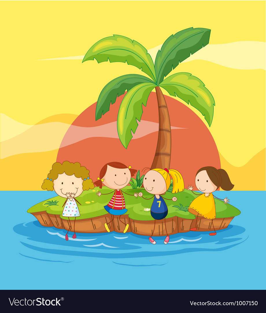 Kids on an island vector | Price: 3 Credit (USD $3)