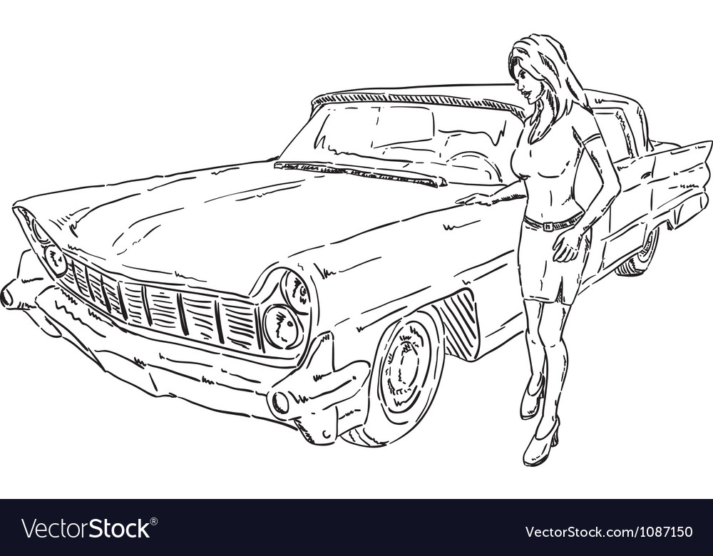 Old car and girl vector | Price: 1 Credit (USD $1)